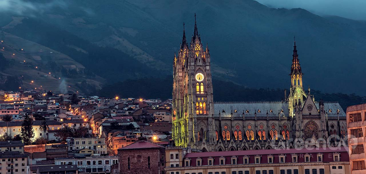 Colonial Quito Basilica at night