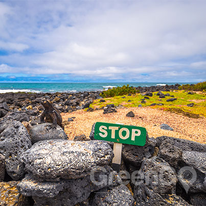 Sustainable-Travel-to-the-Galapagos-Islands-Galapagos-sign-saying-stop