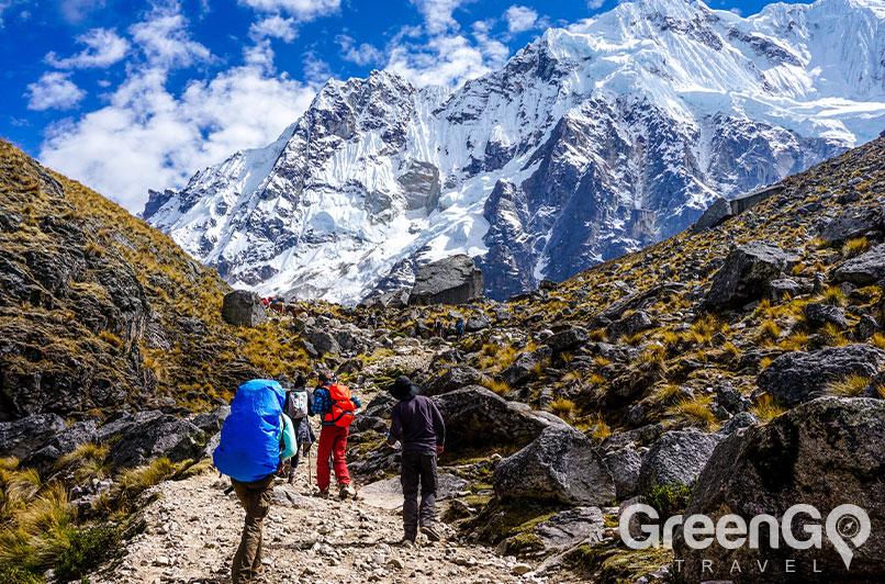 The Salkantay pass of the Salkantay trek.